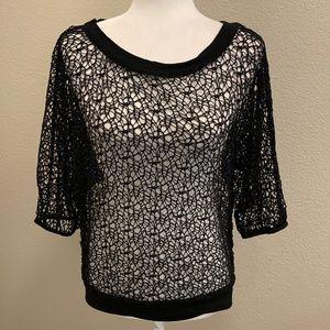 Lisa International Black Crochet Spider Web Top